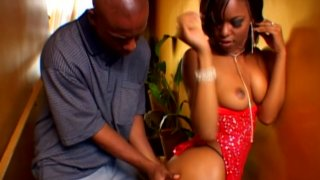 Black and horny babe Marie Luv sucks dick to ride it