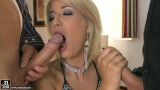 Lascivious blonde Blanche has awesome threesome with two white guys