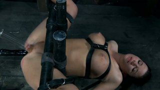 Sarah Blake gets horny while being fucked up by daunt-looking metal gadgets